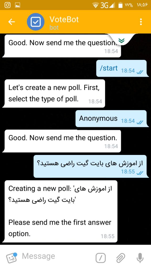 آموزش ایجاد و ارسال نظرسنجی در تلگرام