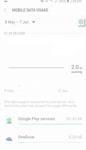مشکل Data usage warning