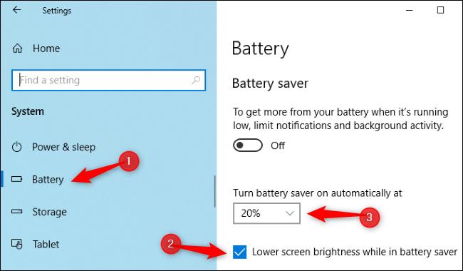 تنظیم نور صفحه با باتری