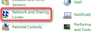 Control Panel network sharing center