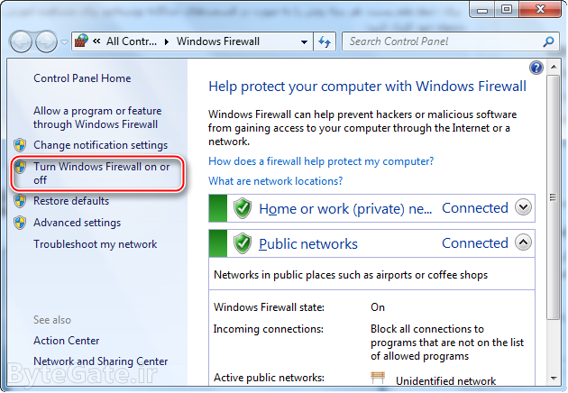 Disable or Enable windows Firewall 2