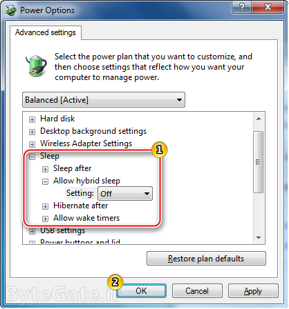 Enable or Disable hibernate power options 5