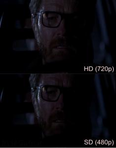 HD (720p) vs SD (480p)