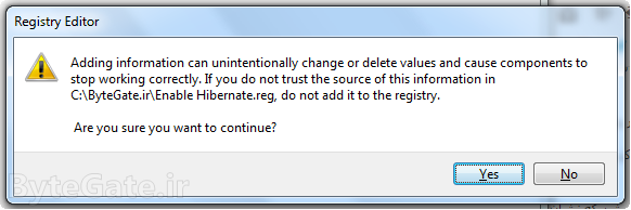 Hibernate enabling registry warning