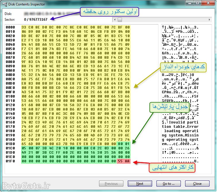 دادههای موجود در سکتور اول حافظه (MBR)