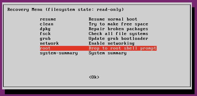 Ubuntu Safe mode - Recovery mode