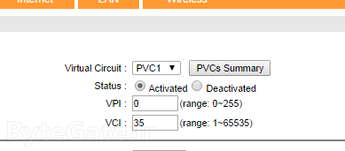 VCI and VPI in DSL settings