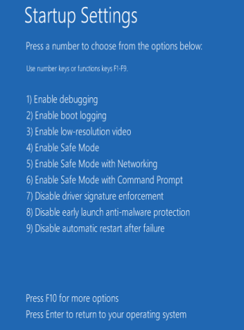 Windows 8 and 8.1 Startup settings