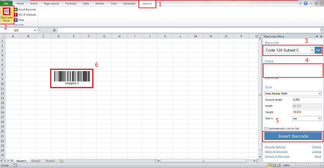 barcode in excel.