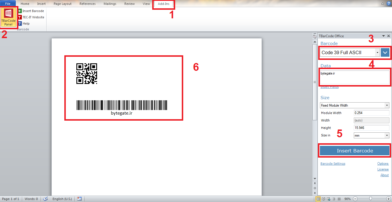 barcode in word.
