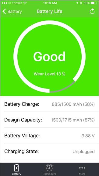 battery level.