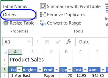 تغییر نام جدول در اکسل
