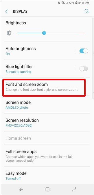 font and screen zoom.