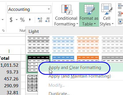حذف طراحی جدول در اکسل