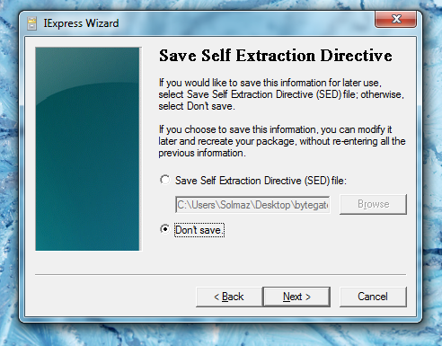 save self Extraction directive.